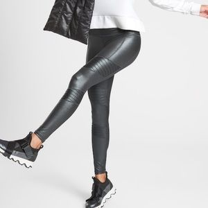 NWT Athleta Inclination Moto Shimmer tight S black